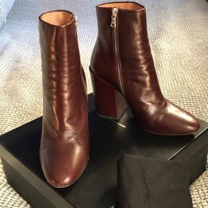 Dries Van Noten burgundy ankle boots